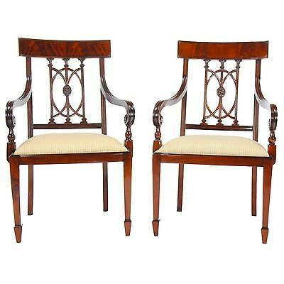 NDRAC033, Niagara Furniture, PAIR Solid Mahogany Hepplewhite Arm Chairs