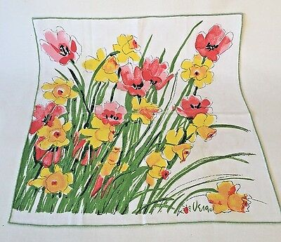 3 pc Vintage VERA NEUMANN Cotton Napkins Bright Daffodil Tulips Ladybug Floral