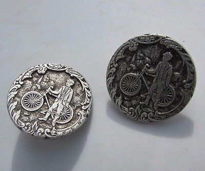 Antique Button Boy Bicycling Transportation Bike City Silver Plate Picture Large