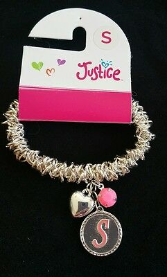 Justice Girls Jewelry Initial Bracelet Letter S Stretchy Heart charm & pink bead
