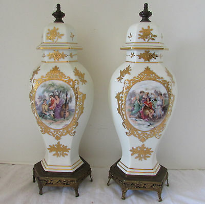 "Antique Pair Noritake Painted & Gilded Porcelain Mantle Sevres Style 14"" Tall"
