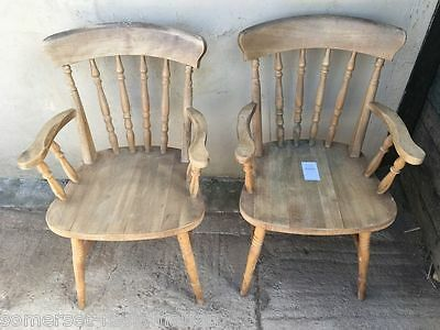 Pair Of Reclaimed 20thC Natural Beech Spindle Back Farmhouse Kitchen Armchairs