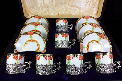 Antique Limoges Elkington Art Nouveau Silver Demi Tasse Cased Set Cup & Saucers