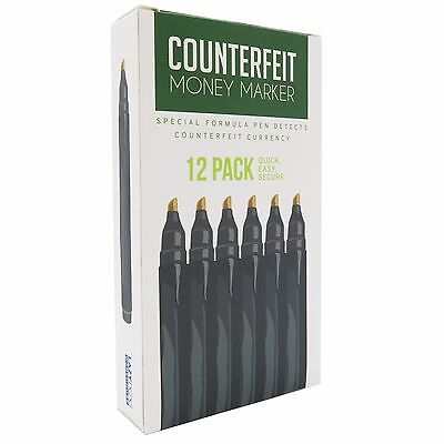 Counterfeit Money Detector Pen Marker - Universal Currency (12 Pack)​