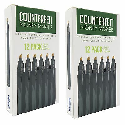 Counterfeit Money Detector Pen Marker - Universal Currency (2 Boxes)​