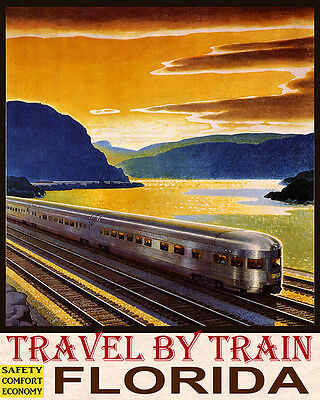 Poster Travel By Train Safety Comfort Economy Florida Usa Vintage Repro Free S/h