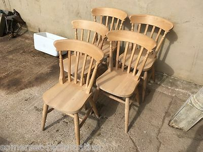 Set Of 5 Reclaimed 20th Century Beech Kitchen Slat Back Chairs Stripped & Waxed