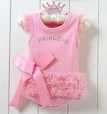 Baby Girls Pink Romper Jumpsuit Outfit Clothes Princess Dress Cute UK newborn