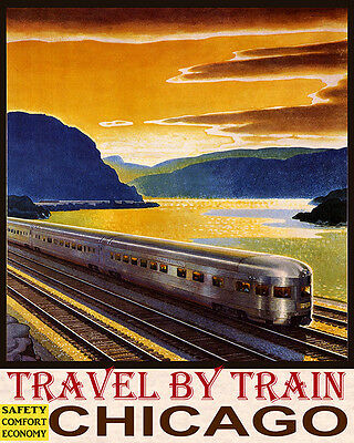 Poster Travel By Train Safety Comfort Economy Chicago Usa Vintage Repro Free S/h