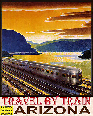 Poster Travel By Train Safety Comfort Economy Arizona Usa Vintage Repro Free S/h