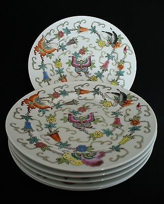 """6~Vintage~White Chinese Porcelain~Enamel Hand Painted~Butterfly~Flowers~7"""" Plate"""
