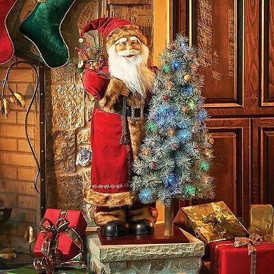 3' Animated Santa With Lighted Christmas Tree Musical Decoration