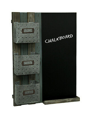 Vintage Look Wooden Chalkboard Three Basket Wall Organizer