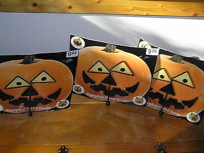 Lot of 3 Black Metal Halloween Pumpkin Stand Décor Jack O Lantern Face – unused