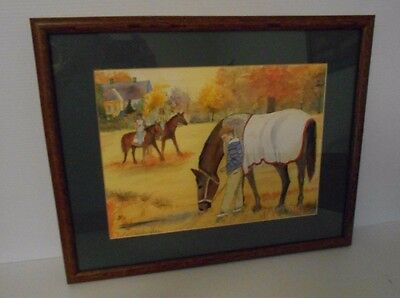 "Framed 19 1/8"" X 15 1/8""  Children And Horses Watercolor Painting By J. Moldstad"