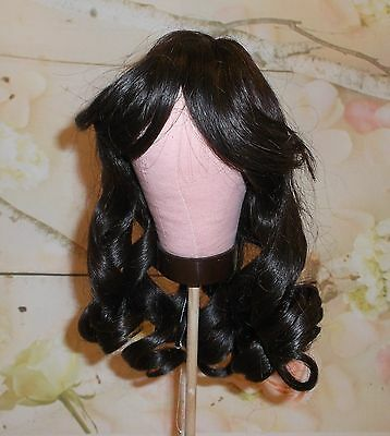 Antique style HUMAN HAIR d. Brown DOLL WIG UNUSED size 14 Long curls centerpart