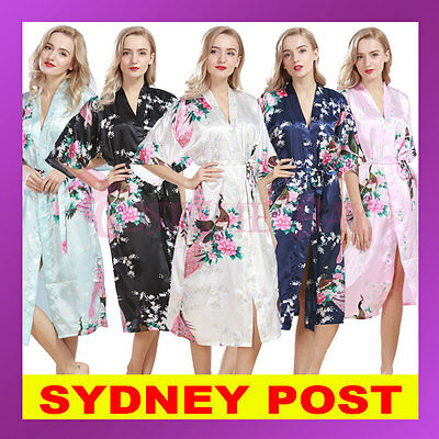 Women Floral Satin Gown Robes Vintage Sleepwear Bridal Wedding Bridesmaid Kimono