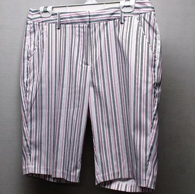New Ladies SIZE 8 Greg Norman Play Dry Bermuda striped polyester golf shorts