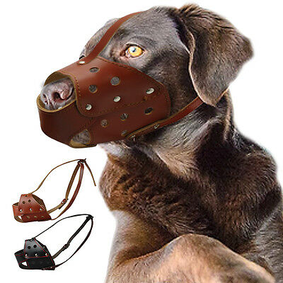 Genuine Leather Pet Dog Muzzle Basket Cage for Training Dogs M L Prevent Bite