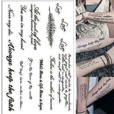 New Removable Temporary Tattoo English Word Body Art Tattoos Sticker Waterproof