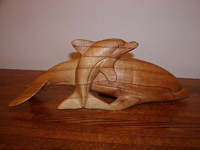 Large Wood Carved Dolphin with Young Dolphin Wood Figurine Signed & Dated 14""