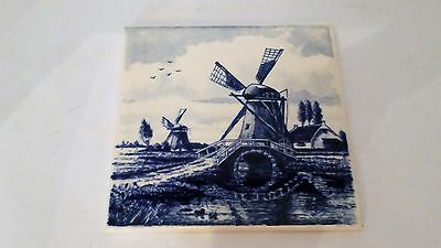 Delfts Blauw Hand Made Painted Holland 4 1/4 Square Tile With Windmill