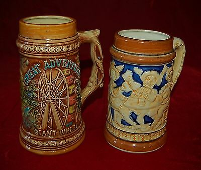 Two Beer STEINS  GREAT ADVENTURE Giant Wheel Made In Japan! Rare!