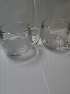 Set of 2 Nescafe World Globe Mugs Cups Etched/Clear Glass Nestle