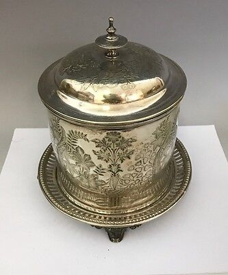 Antique Victorian Silver Plate Footed Biscuit Box Embossed Floral Decoration