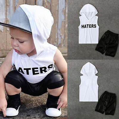 2PCS Toddler Kids Baby Boys Tops Hoodie T-shirt+Shorts Pants Outfits Clothes US