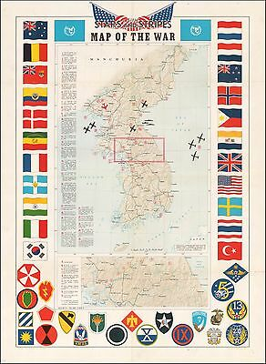 Korea Stars & Stripes Map of The War 1953 Decorative pictorial map POSTER 50711