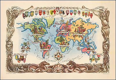 Decorative map of world 1951 Jacques Lizou pictorial map POSTER 47309