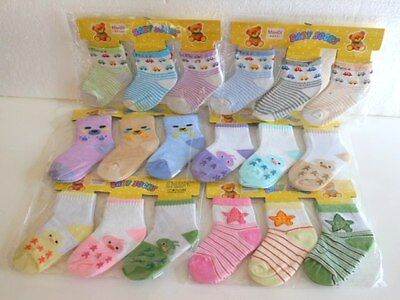 6 Pairs Lovely Cartoon Baby Boy and Girl Socks for 0-18 Months