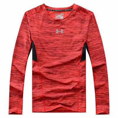 Under Armour UA Mens Compression Long Sleeve HeatGear Shirt Sonic Shirt-- Red --
