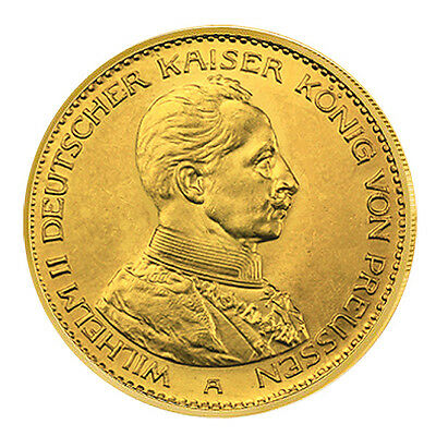 20 Mark Gold Kaiser Wilhelm II. in Uniform Deutsches Reich A Jaeger 253, ss-vz