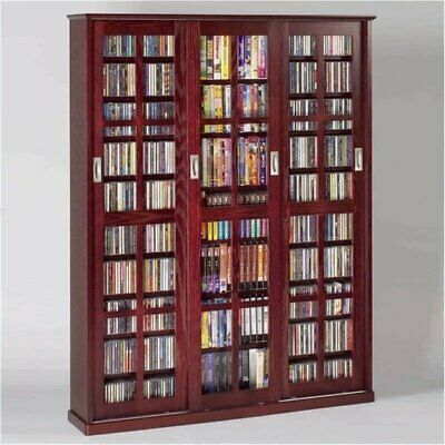 "Bowery Hill 61"" Triple CD DVD Wall Media Cabinet in Dark Cherry"