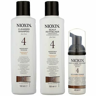 Nioxin System 4 3 Part Kit for Noticeably Thinning Fine Hair Chemically Treated