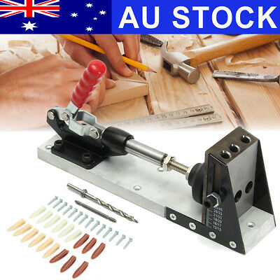 AU Pocket Hole Drill Jig Joinery System Woodworking Portable Drilling Bit Kit