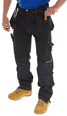 Shawbury Work Trousers Kneepad Tool Multi Pockets Tough  Black Cargo Site Pants
