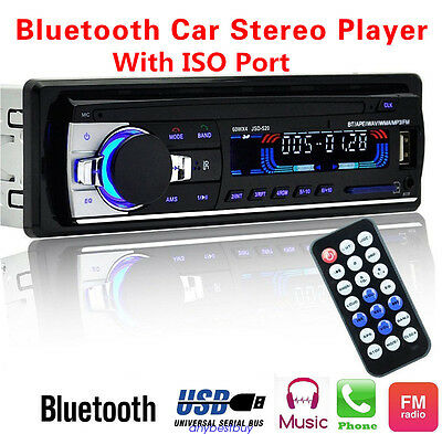 Vehicle Car Stereo Bluetooth 12V In-dash 1 Din FM Radio Aux Input USB w/ISO port