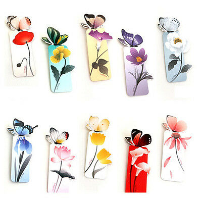 5X Random 3D Butterfly Bookmark Marker Paper Card Clip Book Animal Marks WH