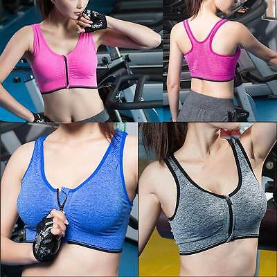 Front Zipper Full Support Workout Sports Wirefree Yoga Running Push Up Bra  Fine