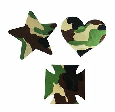 PAIR CAMO Pasties nipple covers Heart Star Dancer breast decoration
