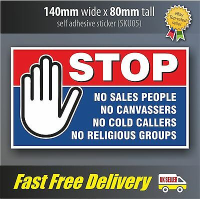 Square 2 x No Cold Callers Salesmen groups Security Door Warning Sign Stickers