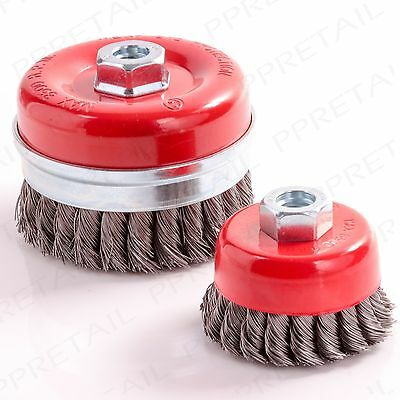 100mm/80mm TWIST KNOT Wire Wheel Cup Brush M14 Thread Angle Grinder Paint/Rust