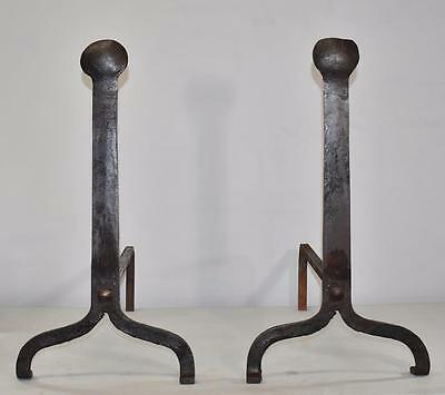 Antique Pair Forged Iron Fireplace Andirons Arts and Crafts / Primitive