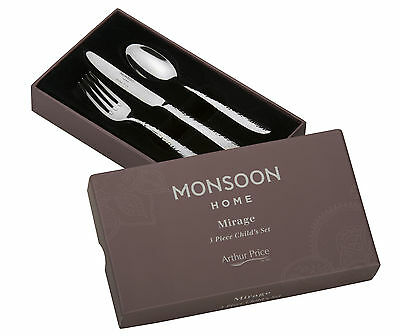 Monsoon Mirage 3 Piece Child Cutlery Set Knife Fork Spoon Arthur Price Boxed New