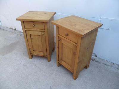 A Superb Pair of Waxed Antique Pine Small Bedside Cabinets