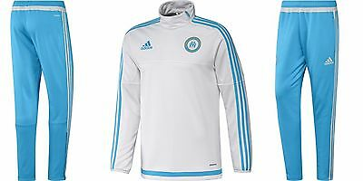 Adidas Olympique Marseille Training Set/Trainingsanzug 1516, Sky Blue/White XS