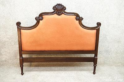Mahogany French Louis XVI Upholstered Headboard Queen Vintage Antique Bed
